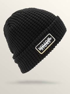 Scribble Stone Beanie In Black, Front View