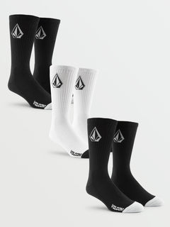 Full Stone Sock 3Pk - Black White