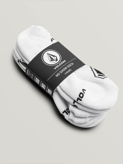 Stone No Show Sock 3 Pack - White (D6321803_WHT) [3]
