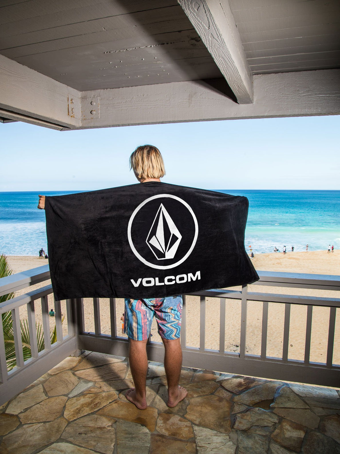 Volcom Rider Towel In Black, Back View