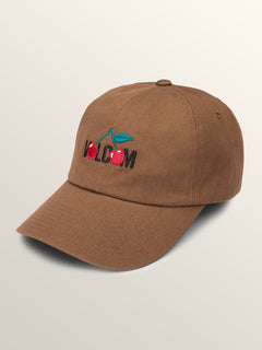 Cherry Bombs Dad Hat In Dark Brown, Front View