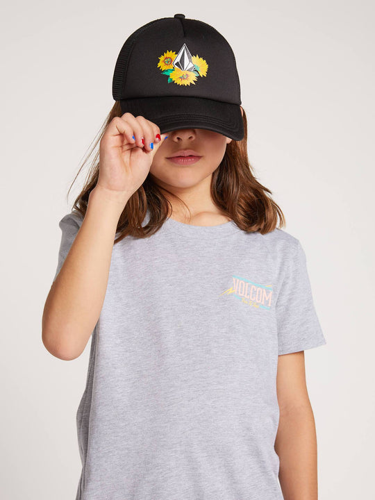 Big Girls Volcom Chatter Hat In Black, Front View