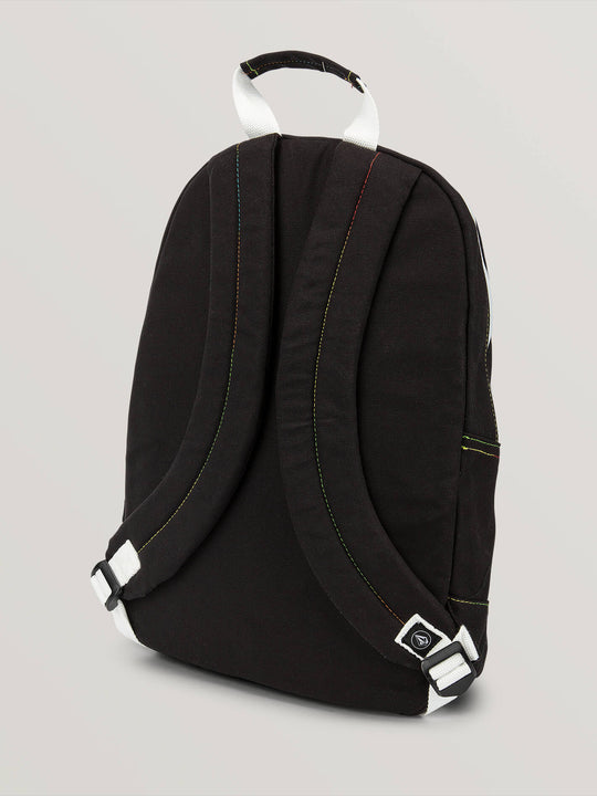 Schoolyard Canvas Backpack In Black, Back View