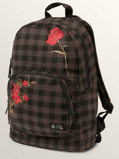 Schoolyard Canvas Backpack In Dark Chocolate, Front View
