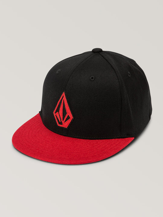 Big Boys Stone Stack Jfit Hat In True Red, Front View
