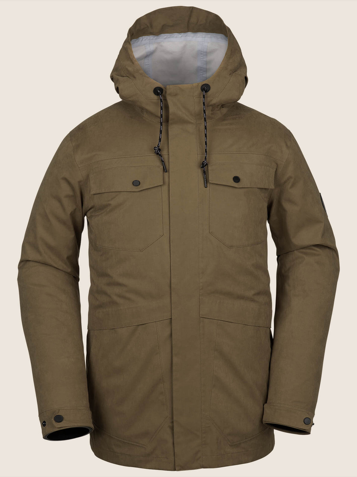 V.co 3L Rain Jacket In Moss, Front View