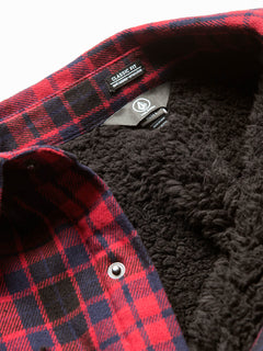 Sherpa Flannel Jacket In Red, Alternate View