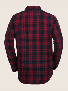 Sherpa Flannel Jacket In Red, Back View
