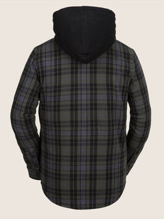 Field Insulated Flannel In Black, Back View