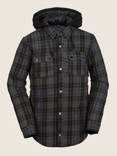 Field Insulated Flannel In Black, Front View