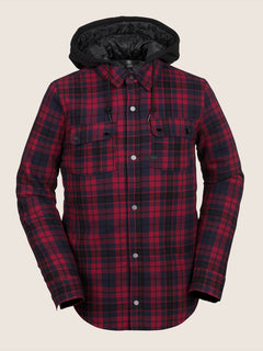 Field Insulated Flannel In Red, Front View