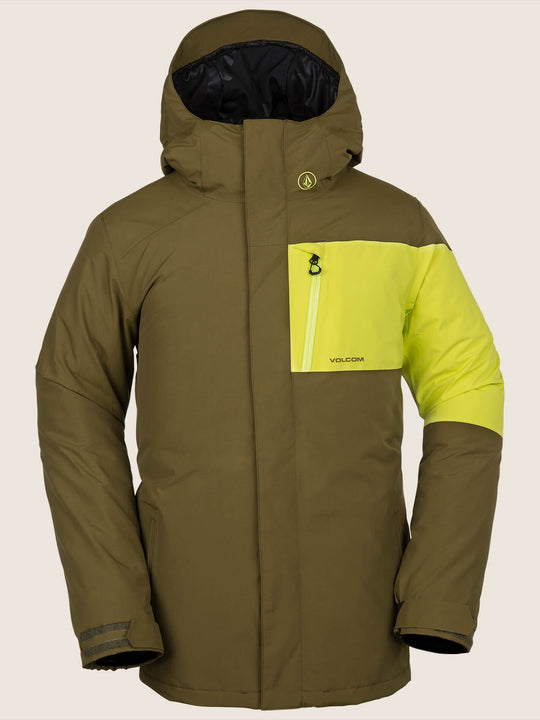 L Insulated Gore-tex Jacket In Moss, Front View