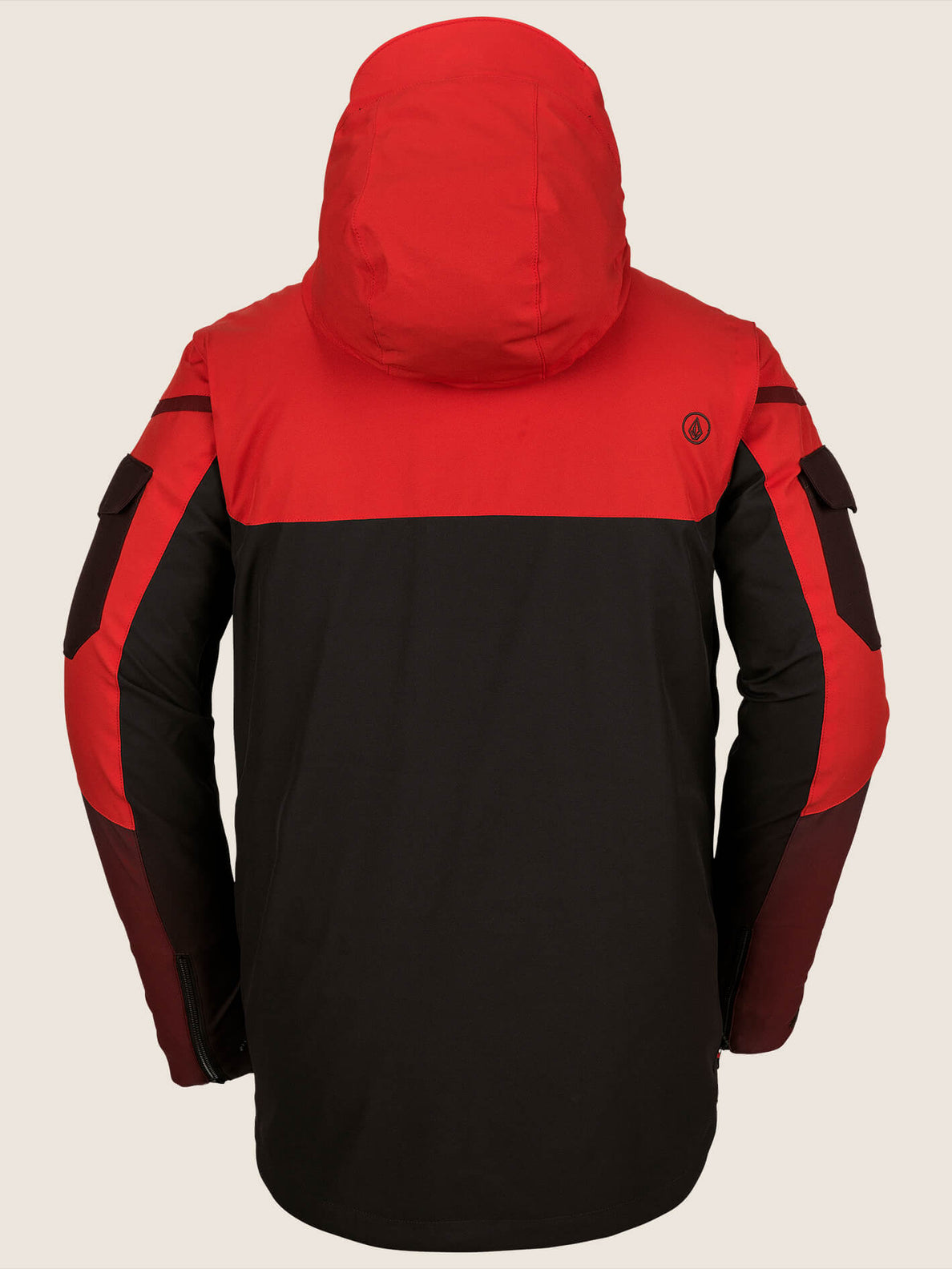 Utility Jacket In Black Red, Back View