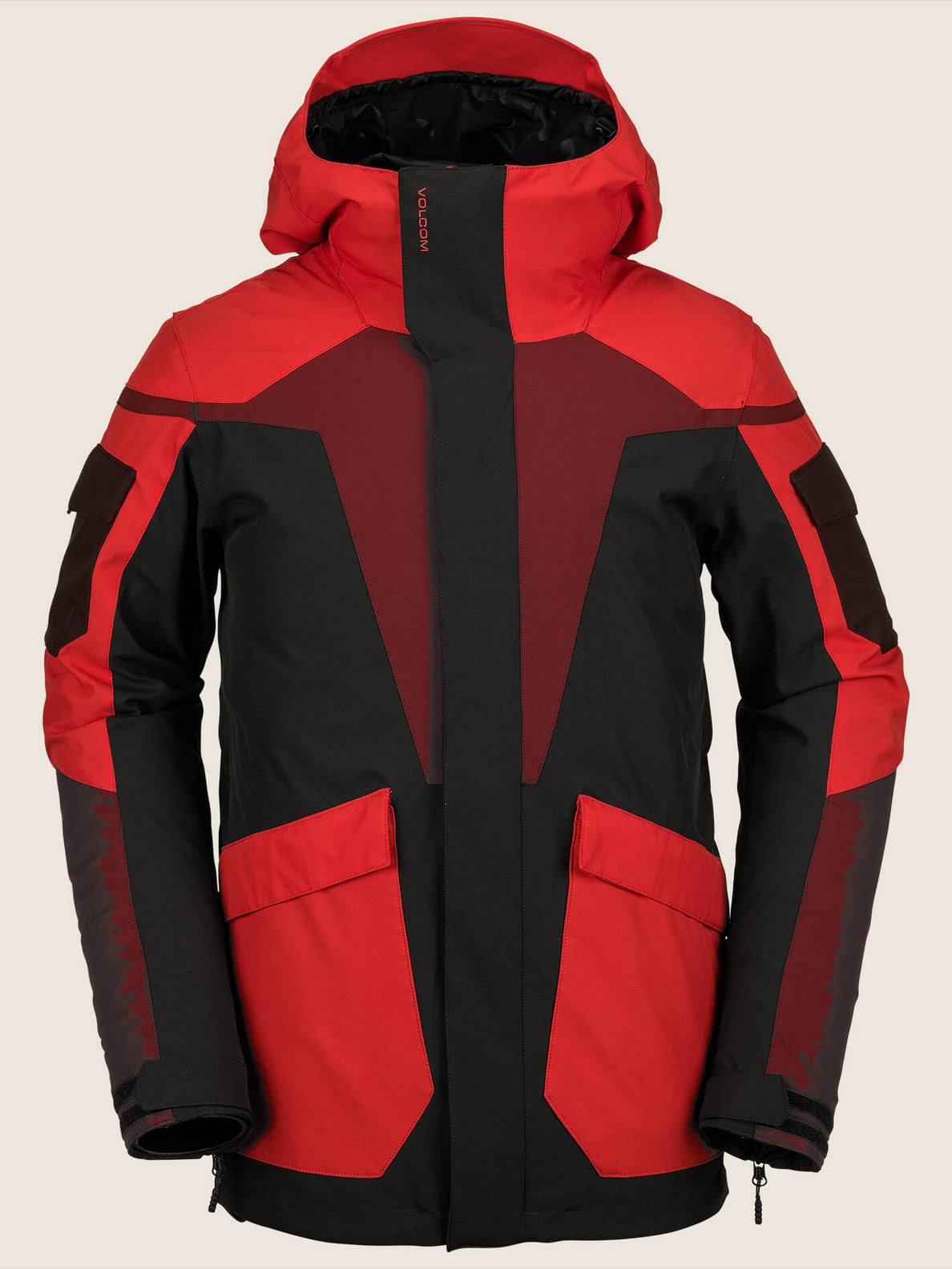 Utility Jacket In Black Red, Front View