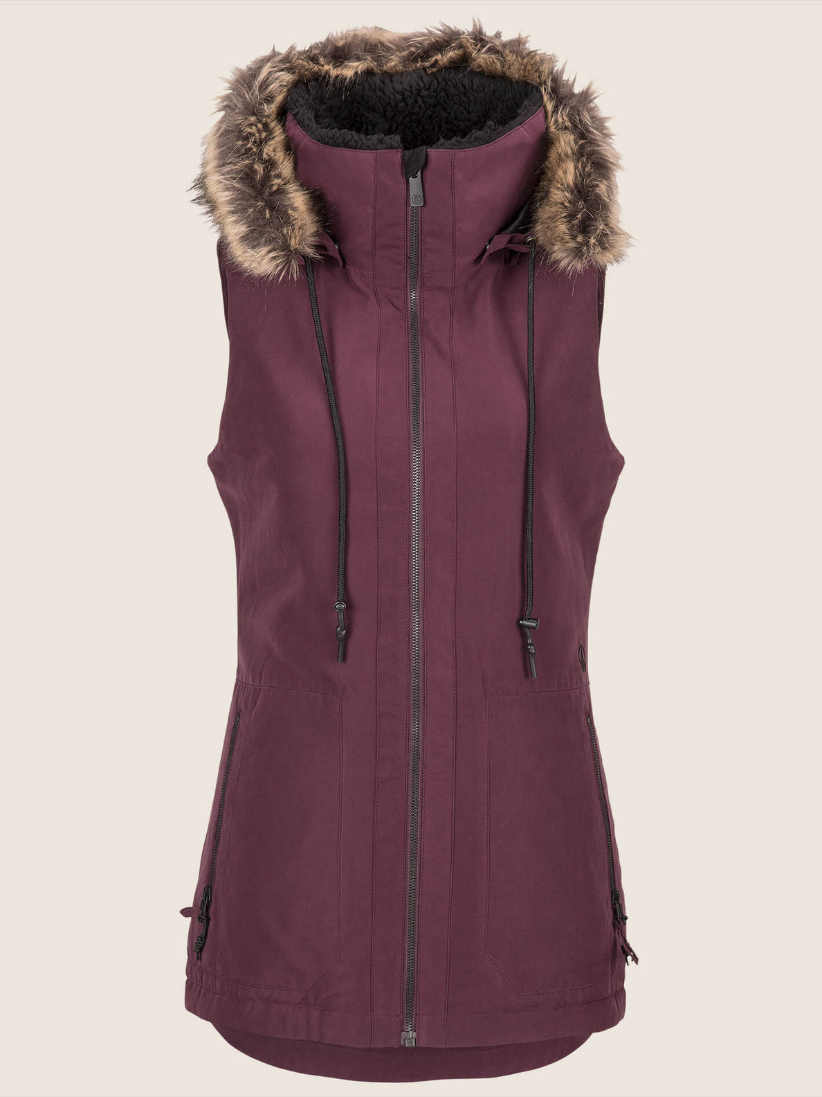 Longhorn Insulated Vest In Merlot, Front View