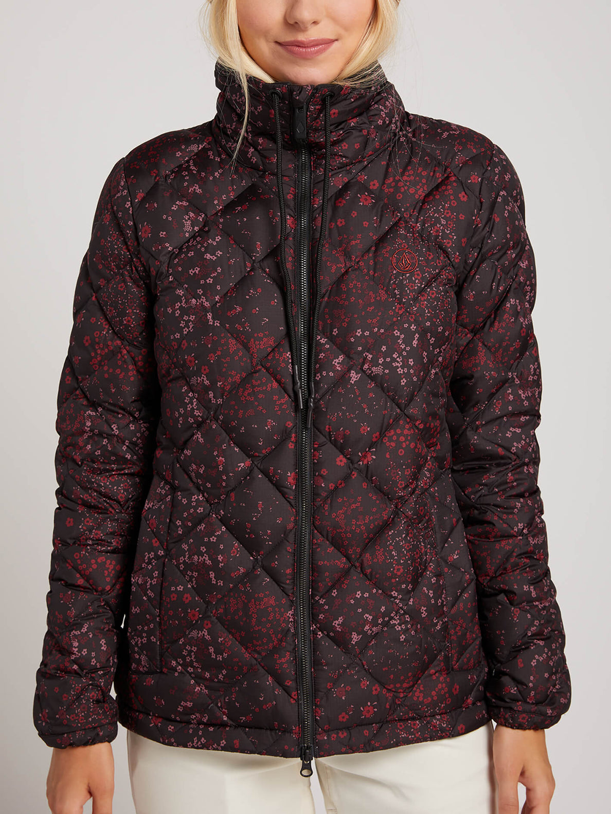 Skies Down Puff Jacket In Black Floral Print, Alternate View