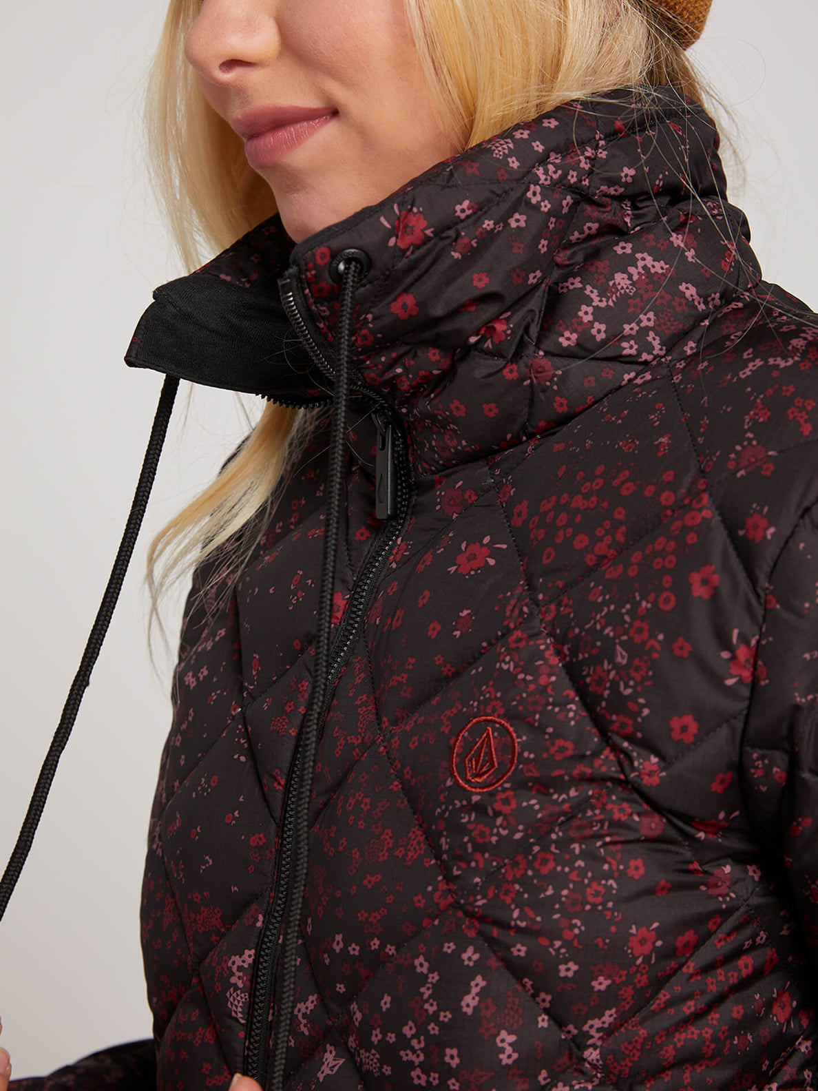 Skies Down Puff Jacket In Black Floral Print, Second Alternate View