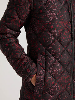 Skies Down Puff Jacket In Black Floral Print, Third Alternate View