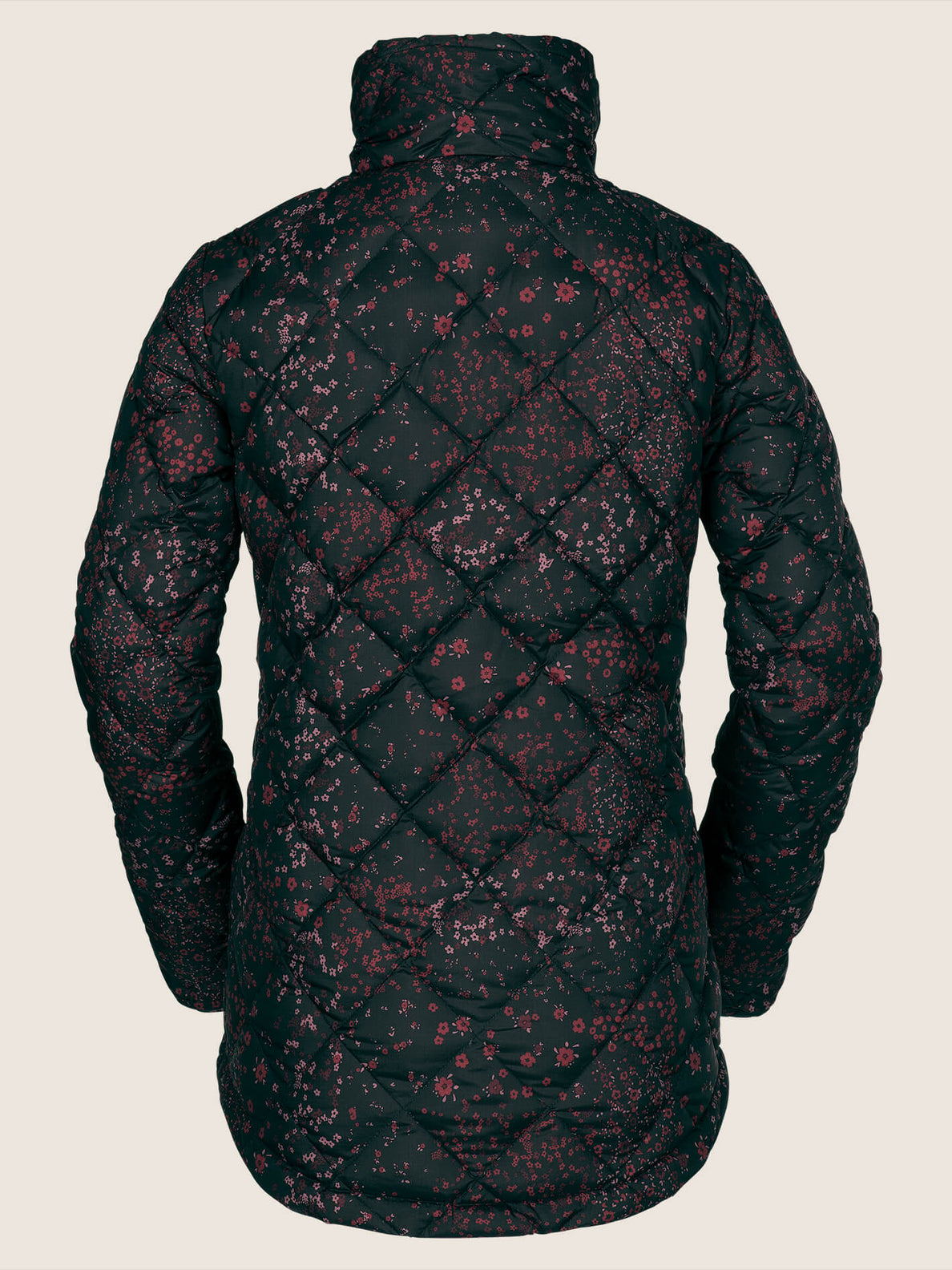 Skies Down Puff Jacket In Black Floral Print, Back View
