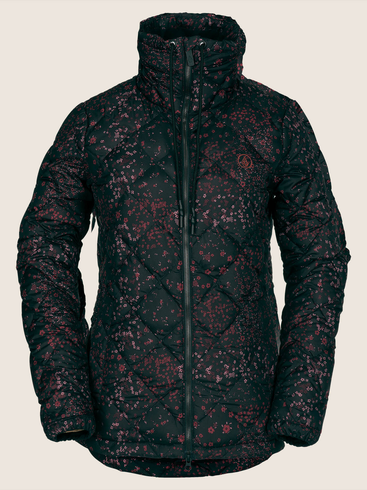 Skies Down Puff Jacket In Black Floral Print, Front View