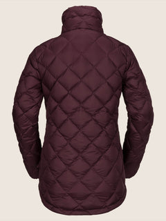 Skies Down Puff Jacket In Merlot, Back View