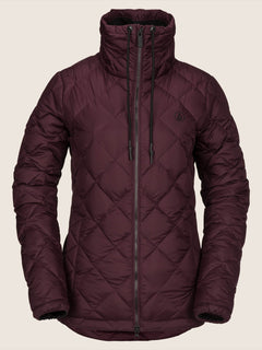 Skies Down Puff Jacket In Merlot, Front View