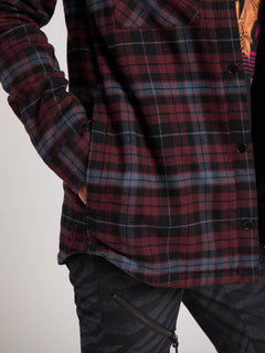Hooded Flannel Jacket In Merlot, Second Alternate View