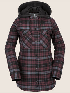Hooded Flannel Jacket In Merlot, Front View