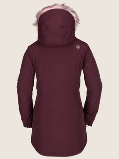 Eva Insulated Gore-tex Jacket In Merlot, Back View