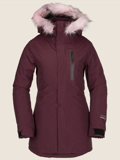 Eva Insulated Gore-tex Jacket In Merlot, Front View