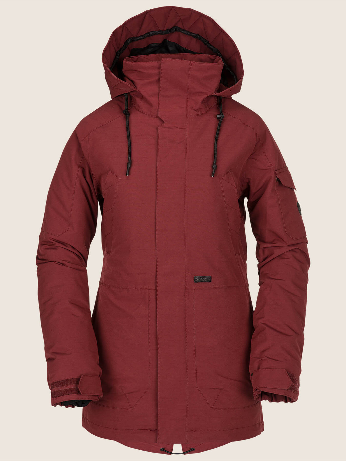 Shrine Insulated Jacket In Burnt Red, Front View