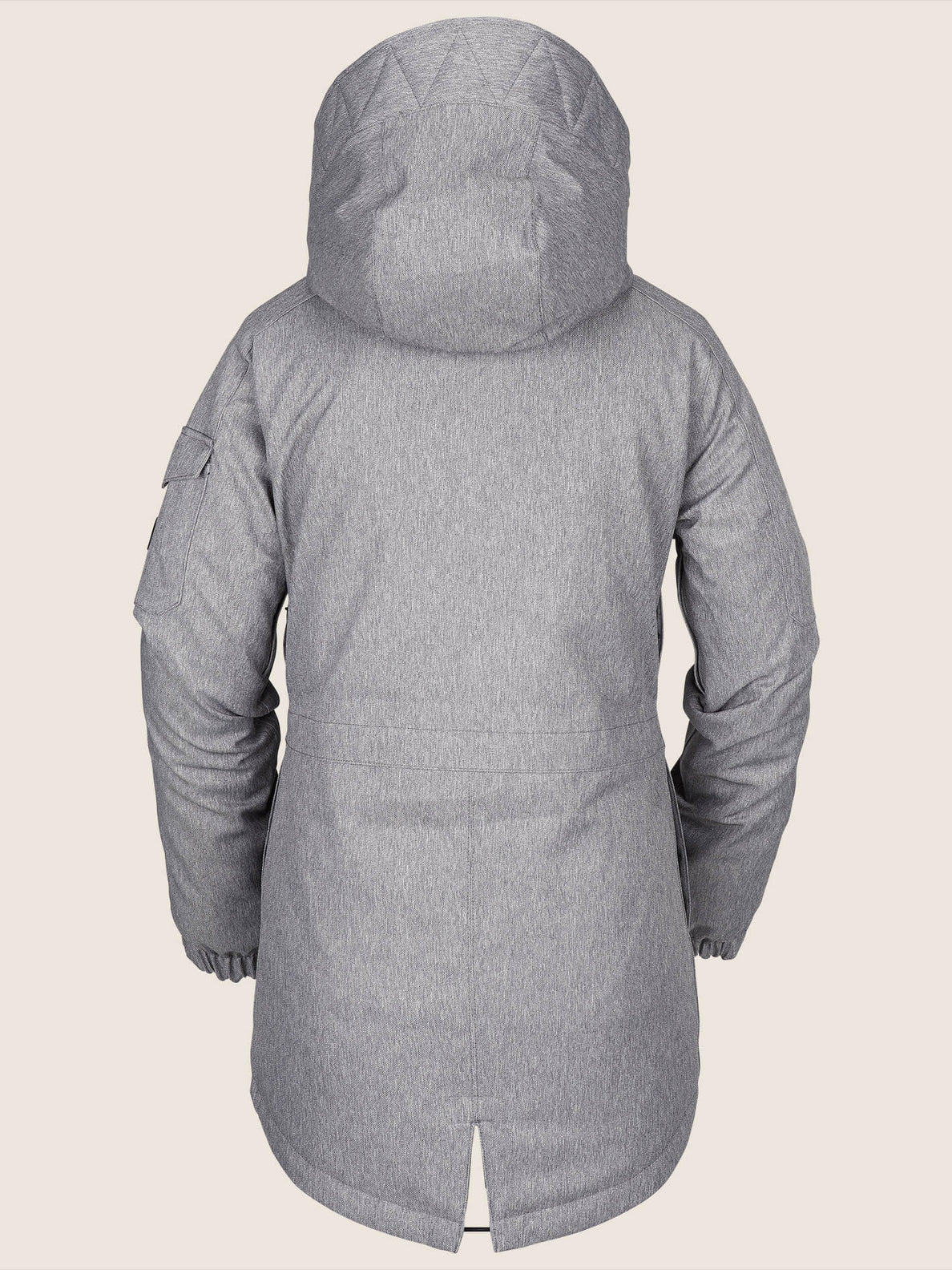 Shrine Insulated Jacket In Heather Grey, Back View