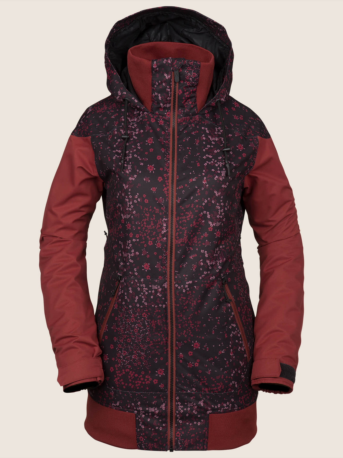 Meadow Insulated Jacket In Black Floral Print, Front View
