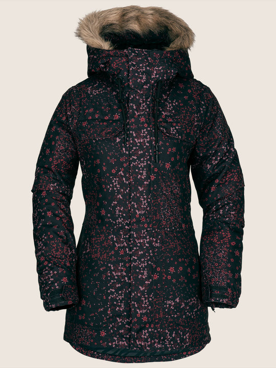 Shadow Insulated Jacket In Black Floral Print, Front View