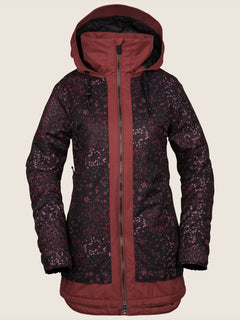 Westland Insulated Jacket In Black Floral Print, Front View
