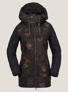 Stave Jacket In Black Floral Print, Front View