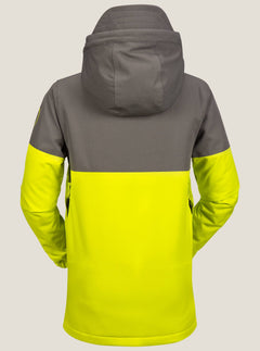 Blocked Insulated Jacket In Lime, Back View