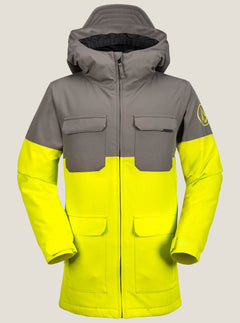 Blocked Insulated Jacket In Lime, Front View