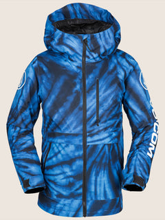 Holbeck Insulated Jacket In Blue Tie-dye, Front View