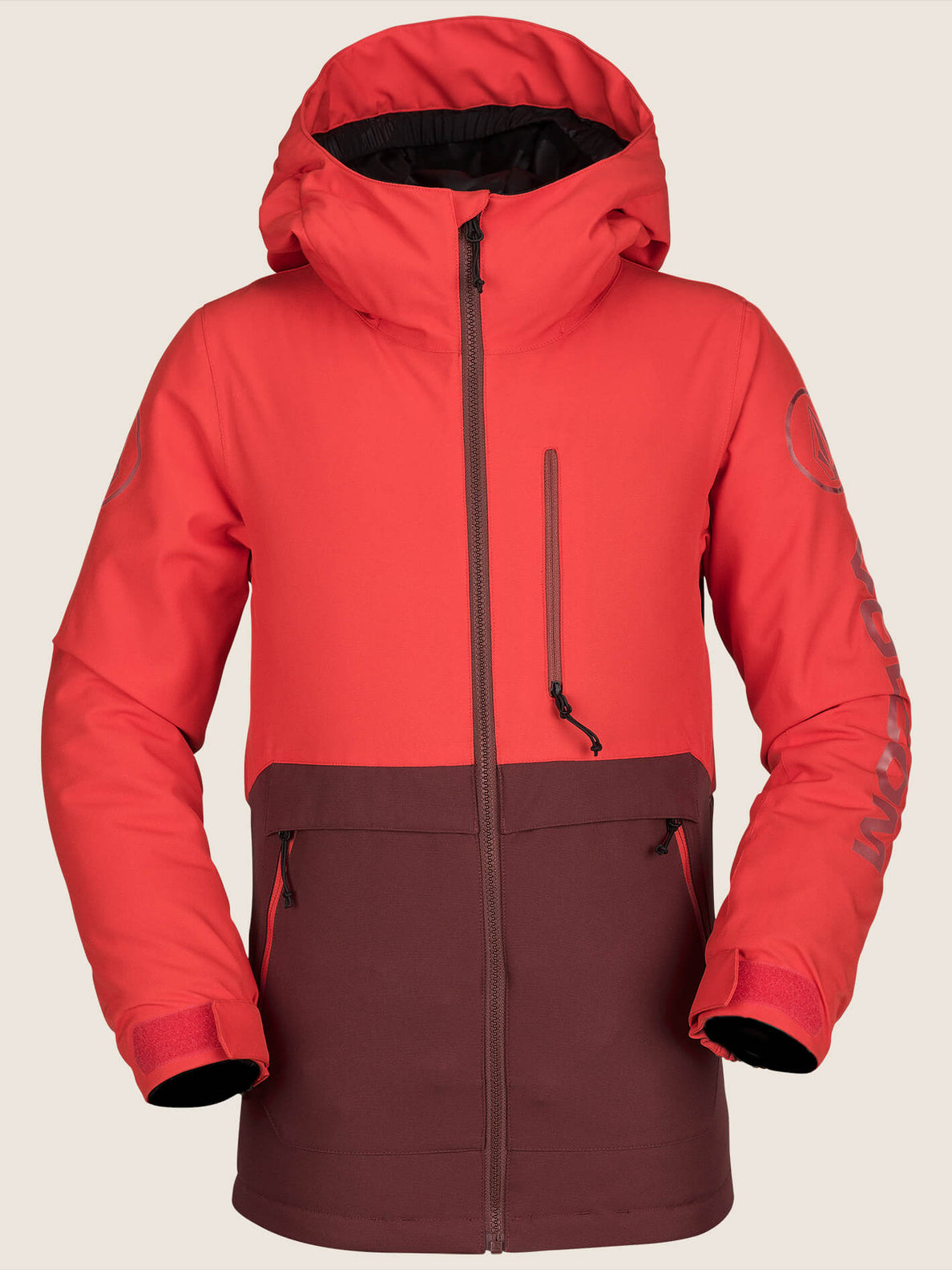 Holbeck Insulated Jacket In Fire Red, Front View