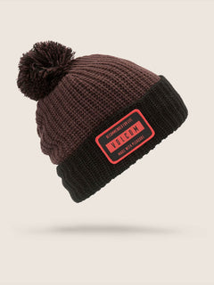 Ttt Lined Beanie In Black Red, Front View