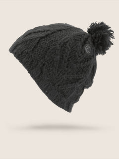 Leaf Beanie In Black, Front View