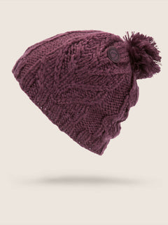 Leaf Beanie In Merlot, Front View