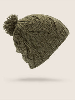 Leaf Beanie In Snow Military, Back View