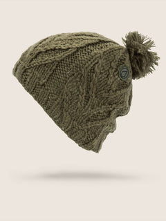 Leaf Beanie In Snow Military, Front View
