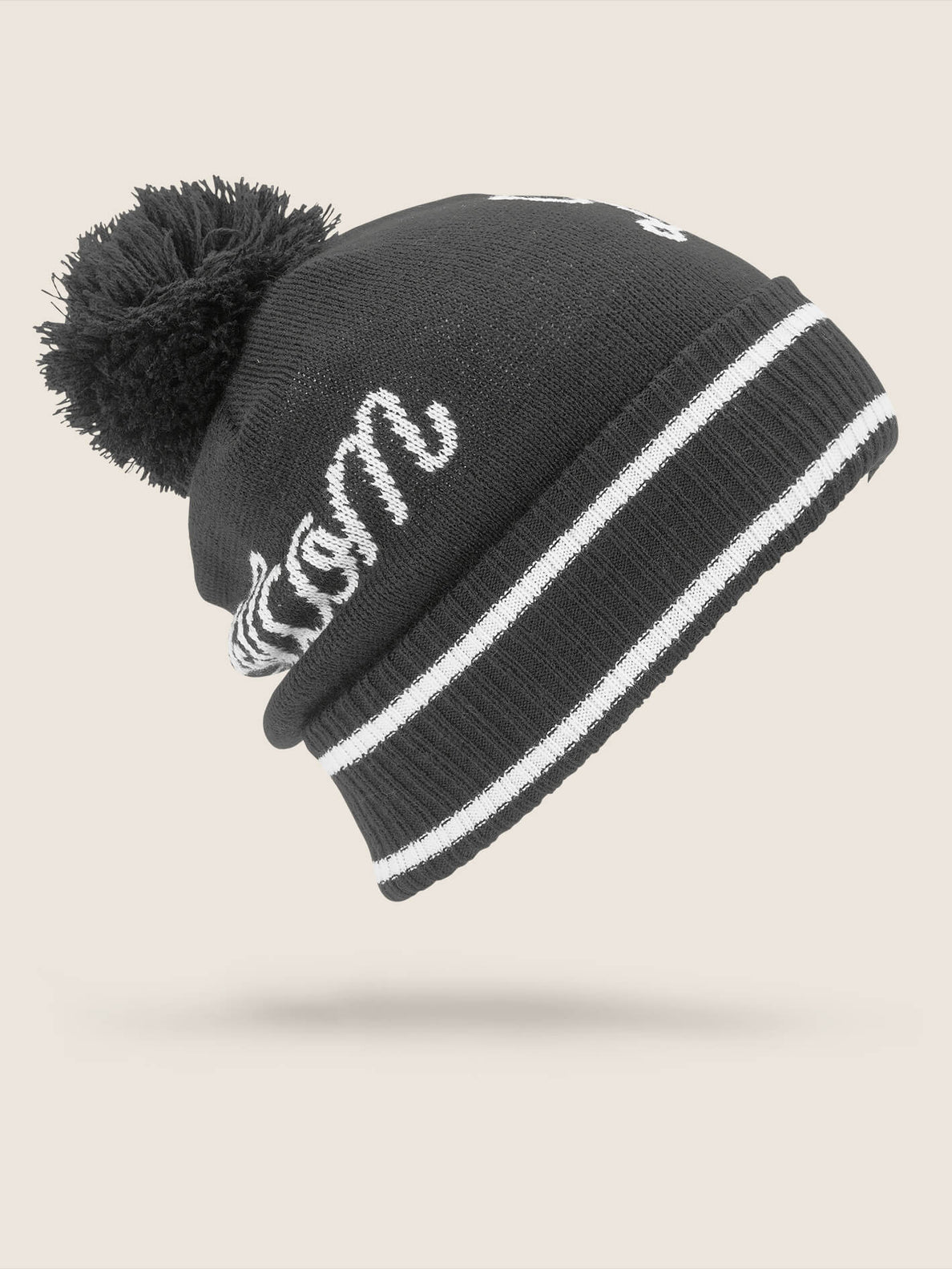 Script Beanie In Black, Back View