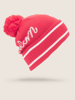 Script Beanie In Crimson, Back View