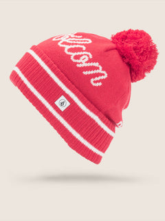 Script Beanie In Crimson, Front View