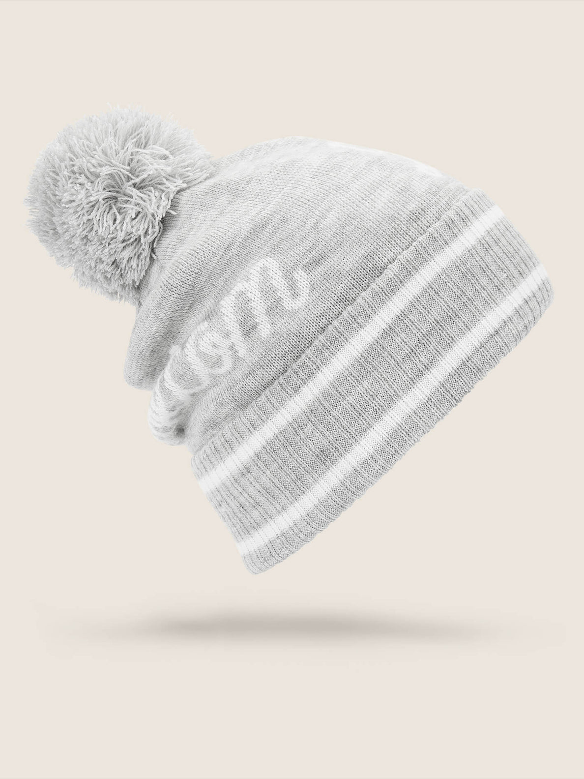 Script Beanie In Heather Grey, Back View