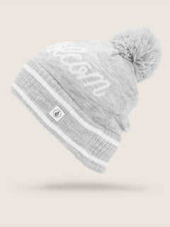 Script Beanie In Heather Grey, Front View